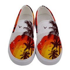Coconut Tree Women s Canvas Slip Ons