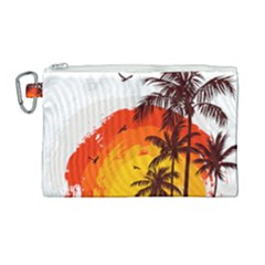 Coconut Tree Canvas Cosmetic Bag (large)