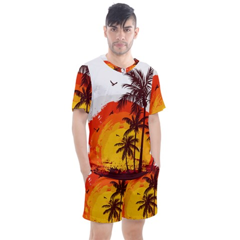 Coconut Tree Men s Mesh Tee And Shorts Set by Jojostore