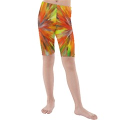 Color Background Structure Lines Space Kids  Mid Length Swim Shorts