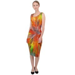 Color Background Structure Lines Space Sleeveless Pencil Dress