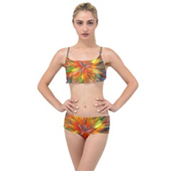 Color Background Structure Lines Space Layered Top Bikini Set