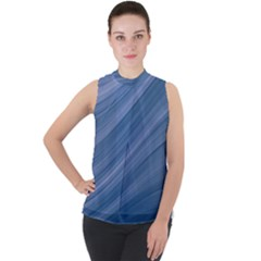 Background Course Abstract Mock Neck Chiffon Sleeveless Top by Jojostore