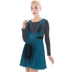 Background Spiral Abstract Plunge Pinafore Velour Dress