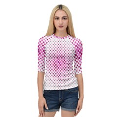 Dot Pattern Circle Pink Quarter Sleeve Raglan Tee by Jojostore