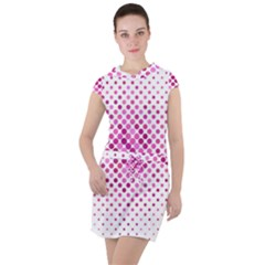 Dot Pattern Circle Pink Drawstring Hooded Dress
