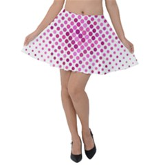 Dot Pattern Circle Pink Velvet Skater Skirt by Jojostore