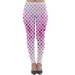 Dot Pattern Circle Pink Lightweight Velour Leggings by Jojostore