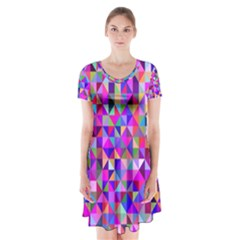 Floor Colorful Colorful Triangle Short Sleeve V Neck Flare Dress by Jojostore