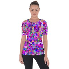 Floor Colorful Colorful Triangle Shoulder Cut Out Short Sleeve Top