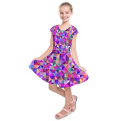 Floor Colorful Colorful Triangle Kids  Short Sleeve Dress by Jojostore