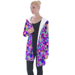 Floor Colorful Colorful Triangle Longline Hooded Cardigan by Jojostore