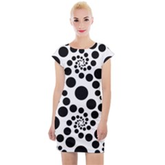 Dots Round Black And White Cap Sleeve Bodycon Dress