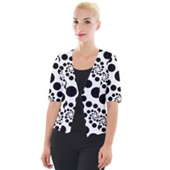 Dots Round Black And White Cropped Button Cardigan