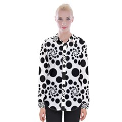 Dots Round Black And White Womens Long Sleeve Shirt