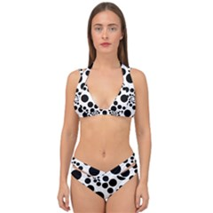 Dots Round Black And White Double Strap Halter Bikini Set