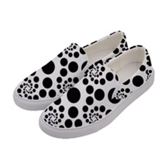 Dots Round Black And White Women s Canvas Slip Ons by Jojostore