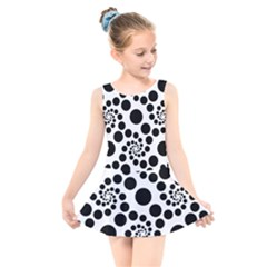 Dots Round Black And White Kids  Skater Dress Swimsuit
