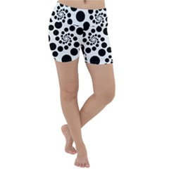 Dots Round Black And White Lightweight Velour Yoga Shorts by Jojostore