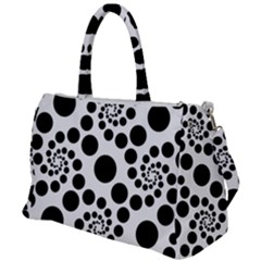 Dots Round Black And White Duffel Travel Bag