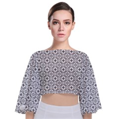 Decorative Ornamental Tie Back Butterfly Sleeve Chiffon Top