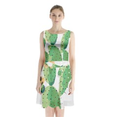 Cactaceae Thorns Spines Prickles Sleeveless Waist Tie Chiffon Dress