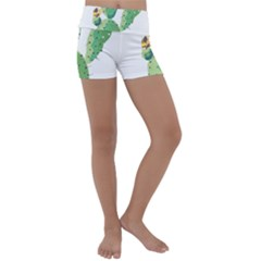 Cactaceae Thorns Spines Prickles Kids  Lightweight Velour Yoga Shorts by Mariart