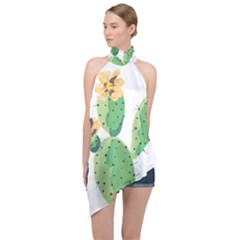 Cactaceae Thorns Spines Prickles Halter Asymmetric Satin Top by Mariart