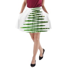 Christmas Tree Spruce A Line Pocket Skirt