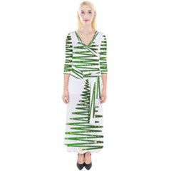 Christmas Tree Spruce Quarter Sleeve Wrap Maxi Dress by Mariart