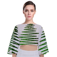 Christmas Tree Spruce Tie Back Butterfly Sleeve Chiffon Top