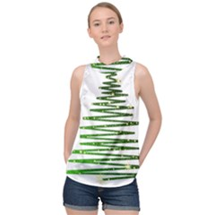 Christmas Tree Spruce High Neck Satin Top