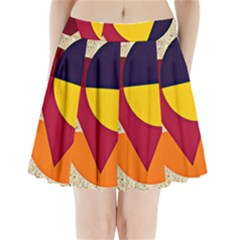 Circle Half Circle Colorful Pleated Mini Skirt by Mariart