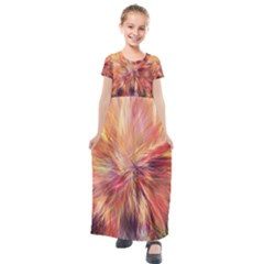 Color Background Structure Lines Kids  Short Sleeve Maxi Dress by Mariart