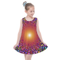 Color Background Structure Lines Polka Dots Kids  Summer Dress