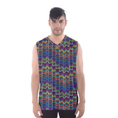 Decorative Ornamental Abstract Wave Men s Basketball Tank Top