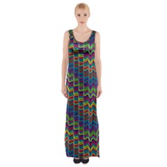 Decorative Ornamental Abstract Wave Maxi Thigh Split Dress by Mariart