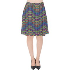 Decorative Ornamental Abstract Wave Velvet High Waist Skirt by Mariart