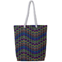 Decorative Ornamental Abstract Wave Full Print Rope Handle Tote (small)