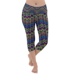Decorative Ornamental Abstract Wave Lightweight Velour Capri Yoga Leggings