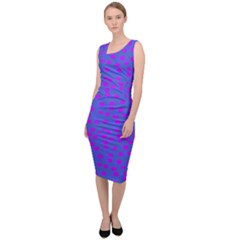 Purple With Pink Flora Sleeveless Pencil Dress