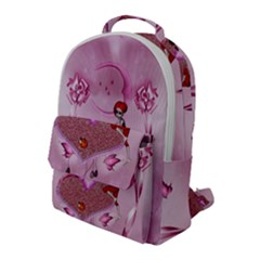 Cute Little Girl With Heart Flap Pocket Backpack (large)
