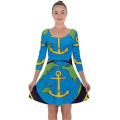 Seal Of Commander Of United States Pacific Fleet Quarter Sleeve Skater Dress by abbeyz71