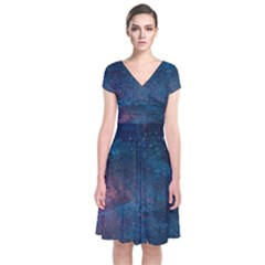 Cosmic Quest Short Sleeve Front Wrap Dress