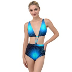 Blue Elliptical Tied Up Two Piece Swimsuit