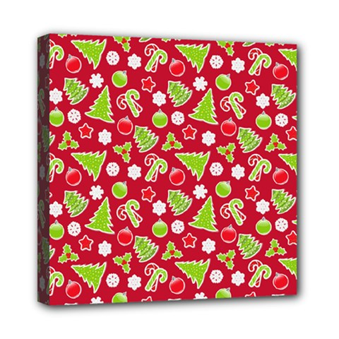 Christmas Paper Scrapbooking Pattern Mini Canvas 8  X 8  (stretched) by Mariart
