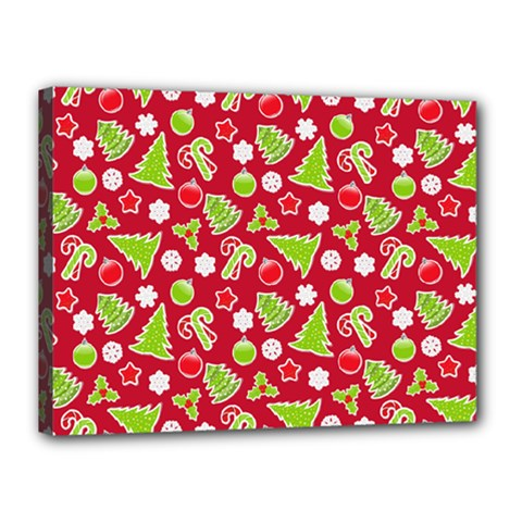 Christmas Paper Scrapbooking Pattern Canvas 16  X 12  (stretched)