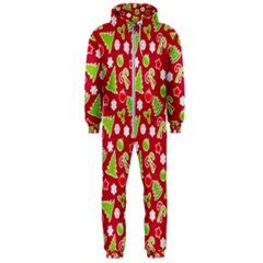 Christmas Paper Scrapbooking Pattern Hooded Jumpsuit (men)