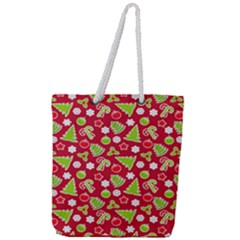 Christmas Paper Scrapbooking Pattern Full Print Rope Handle Tote (large)