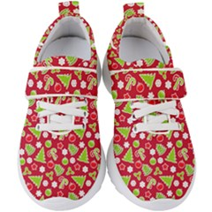 Christmas Paper Scrapbooking Pattern Kids  Velcro Strap Shoes
